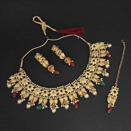 Kriaa Gold Plated Maroon Austrian Stone Necklace Set With Maang Tikka -1107992C