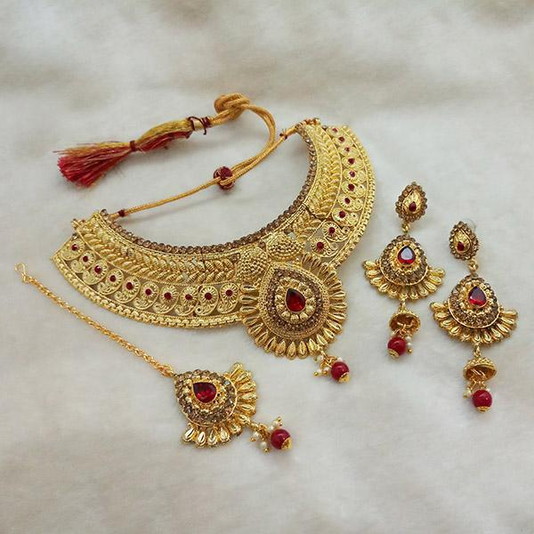 Kriaa Maroon Austrian Stone Choker Necklace Set With Maang Tikka