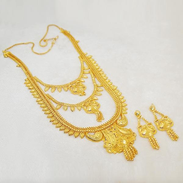 Kalyani Brass Forming Gold Plated Necklace Set