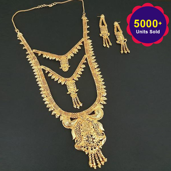 Kriaa Brass Forming Gold Plated Necklace Set