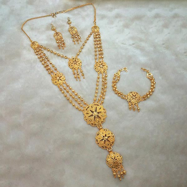 Kalyani Brass Forming Necklace Set With Bracelet