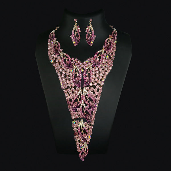 Urthn Pink Crystal Stone Necklace Set