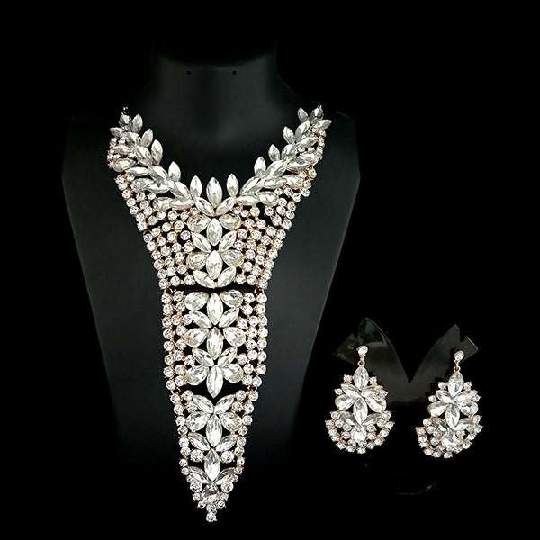 Urthn White Crystal Stone Necklace Set