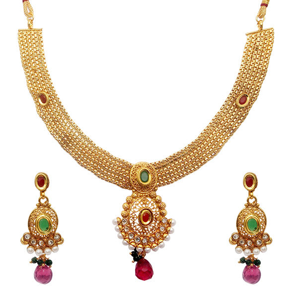 Utkrishtt Gold Plated Austrian Stone Copper Necklace Set