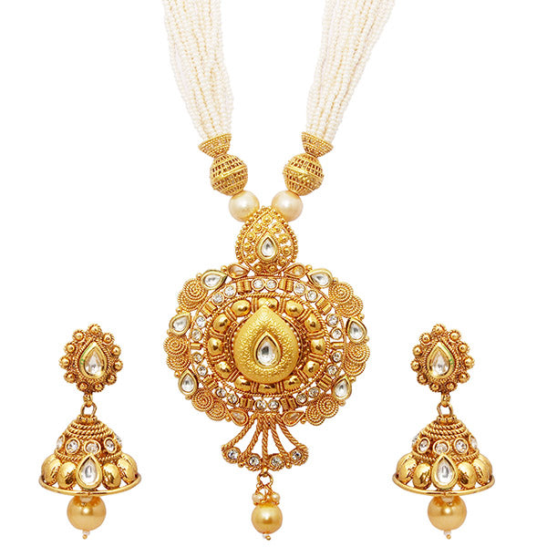 Utkrishtt Kundan Austrian Stone Copper Necklace Set