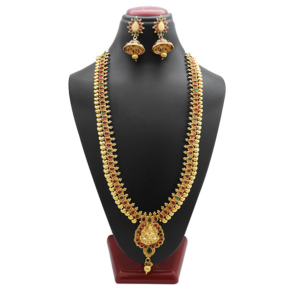 Utkrishtt Maroon And Green Pota Stone Copper Necklace Set