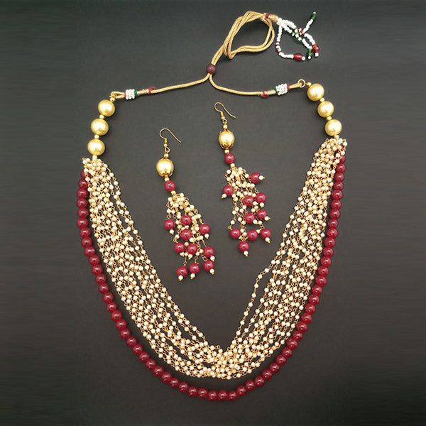 Utkrishtt Maroon Pearl Copper Necklace Set