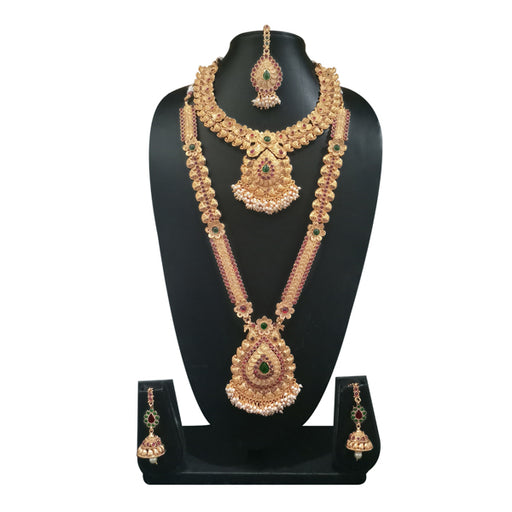 Utkrishtt Stone Double Copper Necklace Set With Maang Tikka