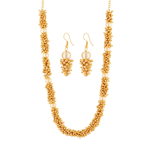 Kriaa Brown Pearl Gold Plated Necklace Set