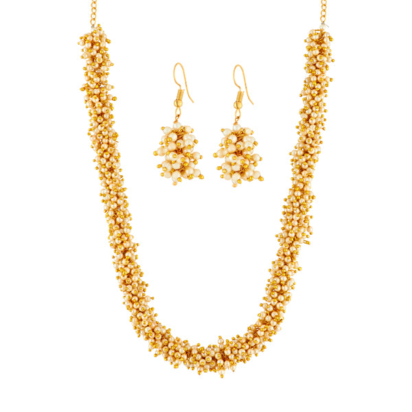 Kriaa Pearl Brown Gold Plated Necklace Set