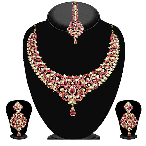 Devnath Art Pink Stone Necklace Set With Maang Tikka