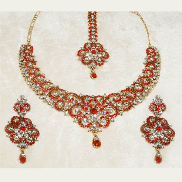 Devnath Art Red Stone Necklace Set With Maang Tikka