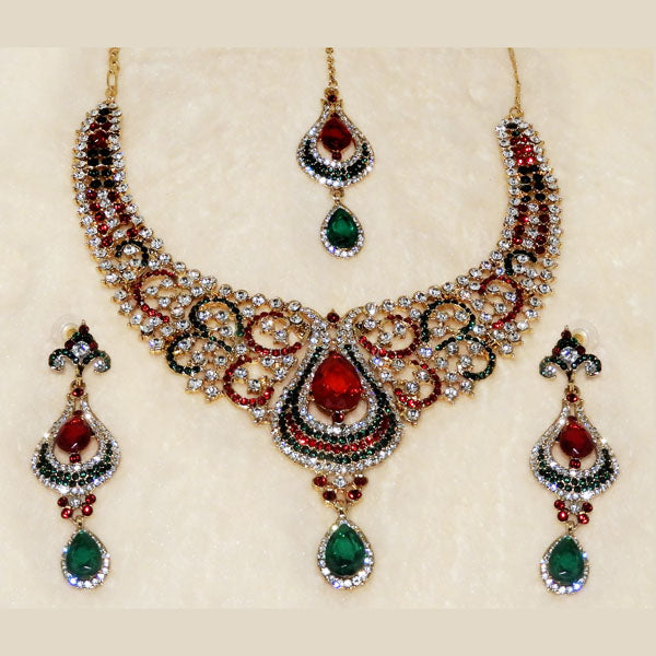 Devnath Art Maroon & Green Stone Necklace Set With Maang Tikka