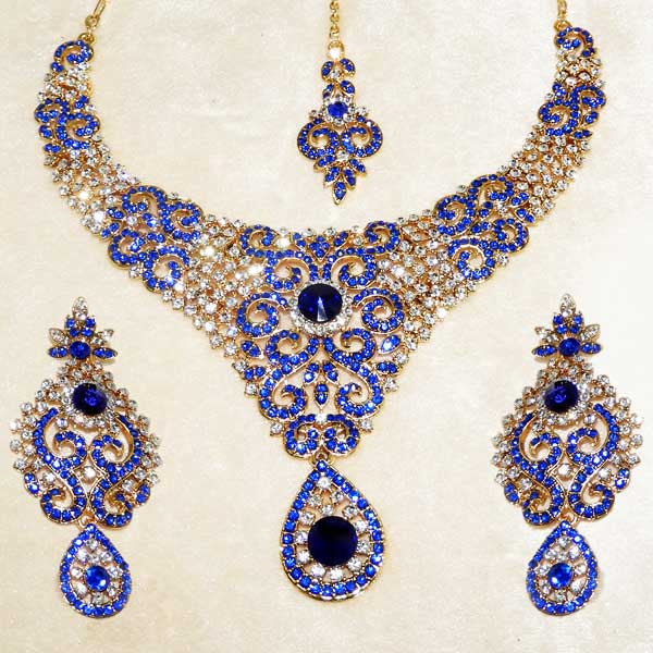 Devnath Art Blue Stone Necklace Set With Maang Tikka