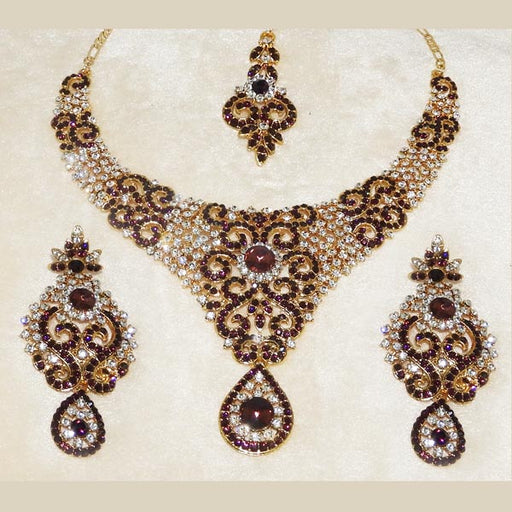 Devnath Art Purple Stone Necklace Set With Maang Tikka