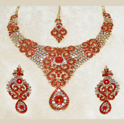 Devnath Art Austrian Stone Gold Plated Necklace Set With Maang Tikka