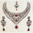 Devnath Art Silver Plated Austrian Stone Necklace Set With Maang Tikka