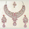 Devnath Art Austrian Stone Silver Plated Necklace Set With Maang Tikka
