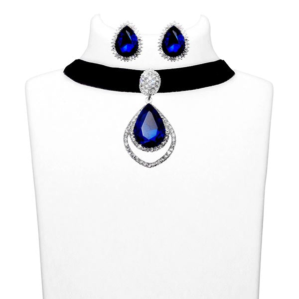 Jeweljunk Blue Stone Choker Necklace Set