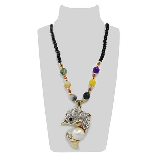 Urthn Gold Plated Multicolor Beads Dolphin Design Necklace Set - 1108922