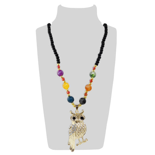 Urthn Multicolor Beads And Austrian Stone Owl Shape Necklace