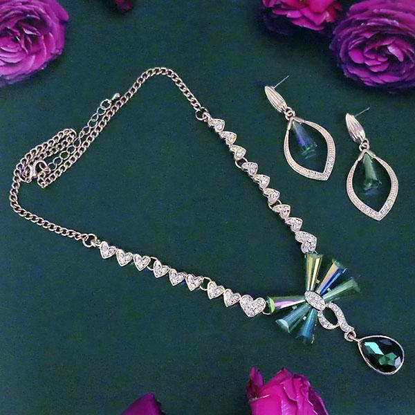 Kriaa Rose Gold Plated Austrian And Crystal Stone Necklace Set - 1109004A