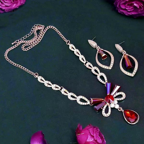 Kriaa Rose Gold Plated Austrian And Crystal Stone Necklace Set - 1109005A