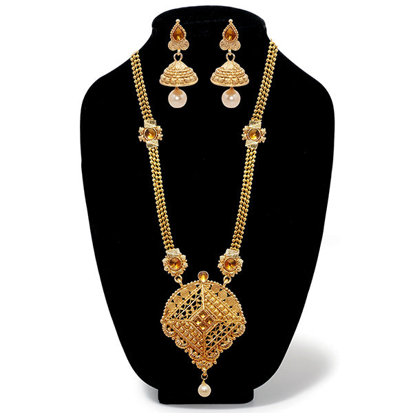 Kriaa Austrian Stone Gold Plated Long Haram Necklace Set