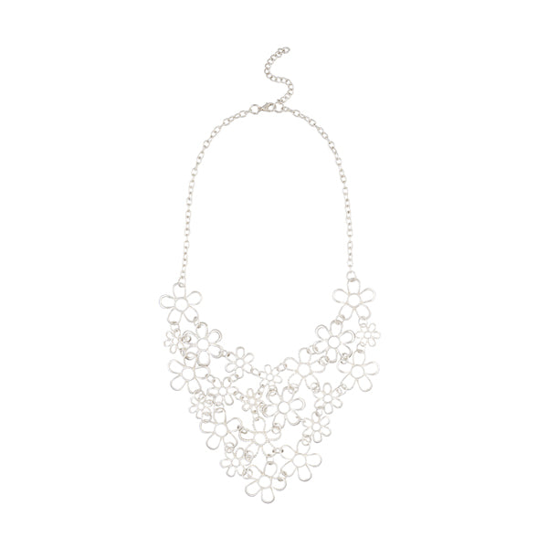 Urthn Silver Plated Floral Design Statement Necklace