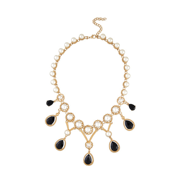 Urthn Gold Plated Pearl Resin Stone Statement Necklace