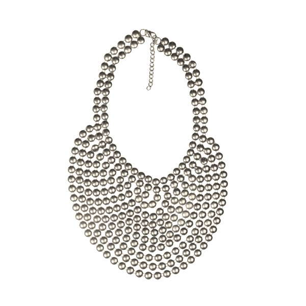Urthn Multi Beads Rhodium Plated Statement Necklace