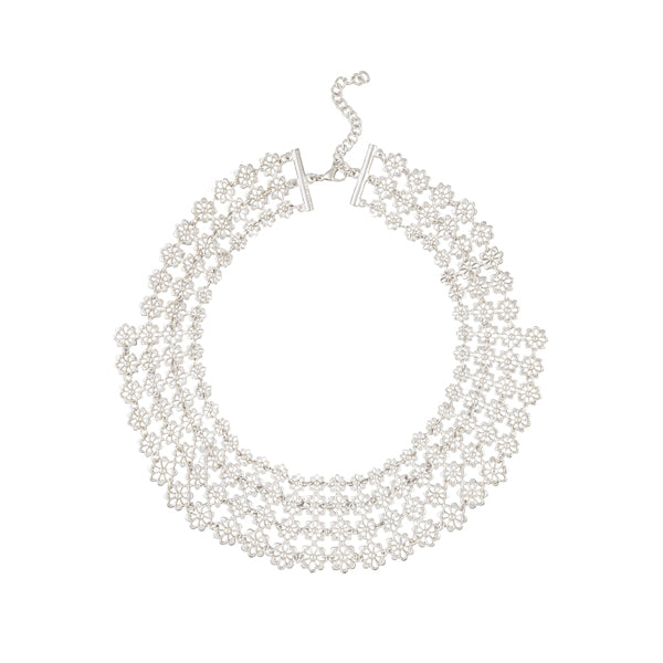 Urthn Silver Plated Round Shape Statement Necklace
