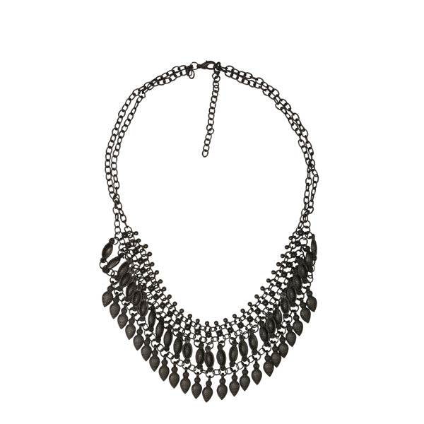 Urthn Black Oxidised Plated Statement Necklace
