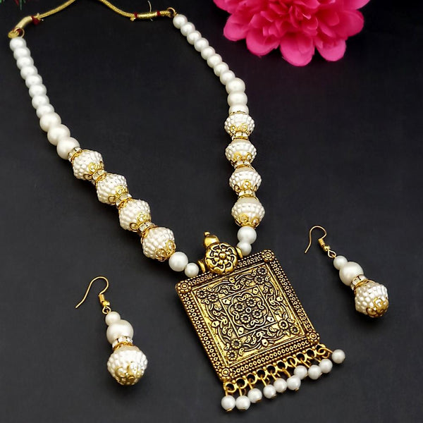 Kriaa Gold Plated Pearl Necklace Set - 1109307