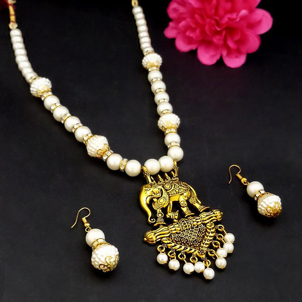 Kriaa Gold Plated Pearl Necklace Set - 1109310