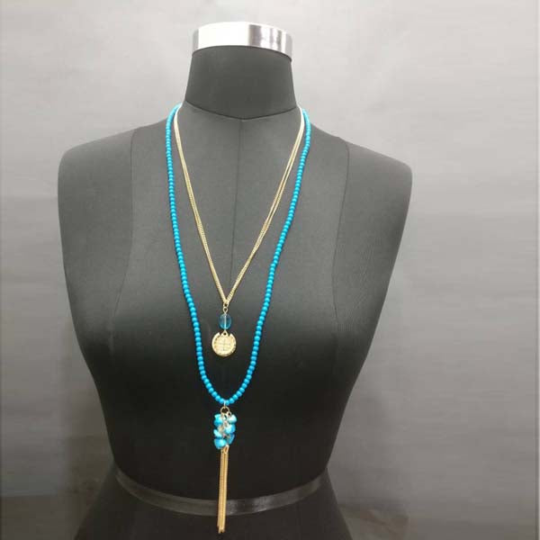 Urthn Gold Plated Double Chain Blue Beaded Necklace