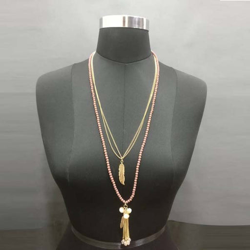 Urthn Gold Plated Pink Beaded Double Chain Necklace