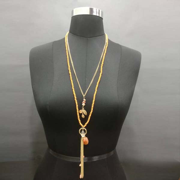 Urthn Gold Plated Double Chain Orange Beaded Necklace