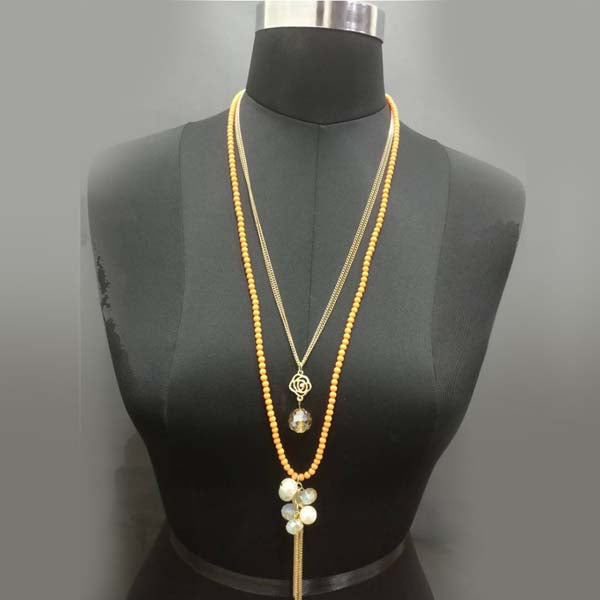 Urthn Gold Plated Yellow Beaded Double Chain Necklace