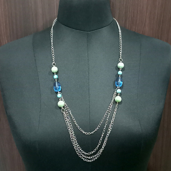 Urthn Silver Plated Blue Beads Statement Necklace