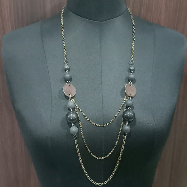 Urthn Antique Gold Plated Chain Beads Statement Necklace