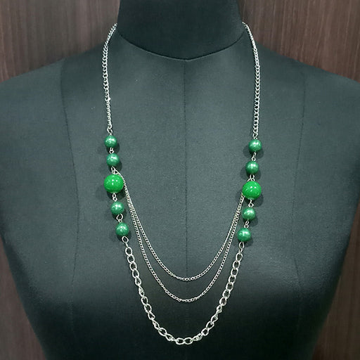 Urthn Silver Plated Green Beads Statement Necklace