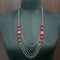 Urthn Red Beads Silver Plated Statement Necklace
