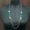 Urthn Blue Stones Silver Plated Statement Necklace