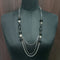 Urthn Black Beads Silver Plated Chain Statement Necklace