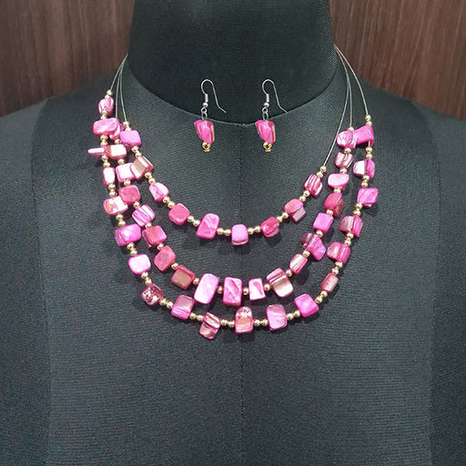 Urthn Pink Stones Silver Plated Statement Necklace