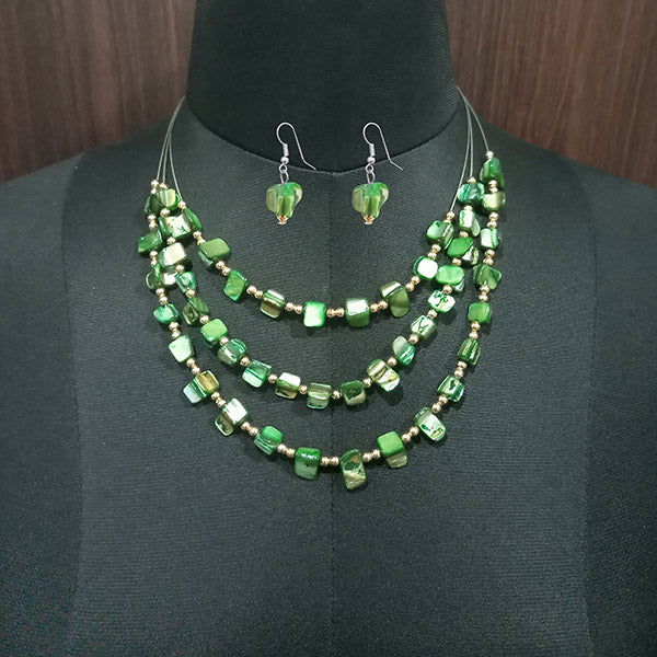 Urthn Green Stones Silver Plated Statement Necklace