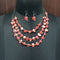 Urthn Red Stones Silver Plated Statement Necklace
