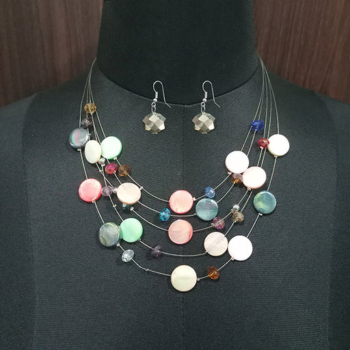 Urthn Multi Stones Statement Necklace Set