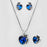 Kriaa Blue Stone Heart Shape Pendant Set With Ring